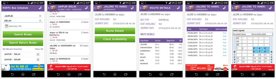 RSRTC Bus Schedule App Reviews